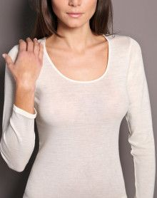 Moretta long sleeves undershirt wool & silk
