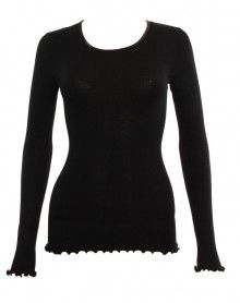 Moretta wool & silk long-sleeved black top