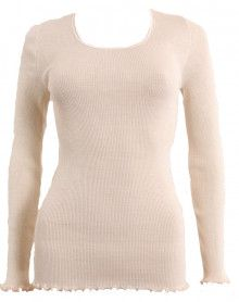 Moretta wool & silk long-sleeved natural top
