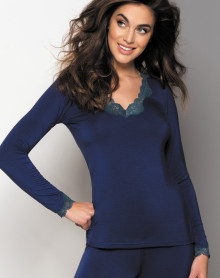 Tee shirt manche longue col en V Antigel Simply Perfect (Eclat Cobalt)