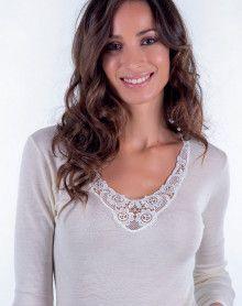 Moretta wool & silk long sleeves undershirt