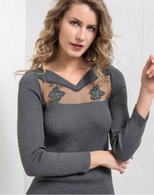 Moretta wool & silk long-sleeved natural top