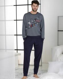 Pyjama forme jogging bleu gris Massana