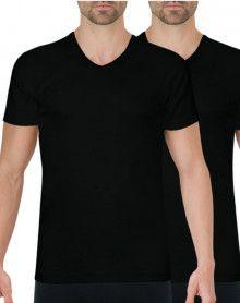 Lot de 2 tee-shirts Athena Col V Coton bio (Noir)