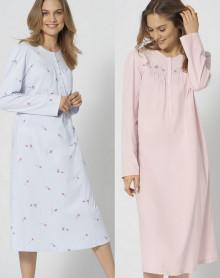 Chemises de Nuit ouvertes sur le haut 100% coton Triumph (Lot de 2 rose et ciel)