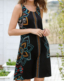 Robe de plage noire à motifs fleuris Massana