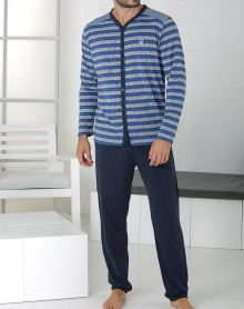 Pyjama rayé gris et bleu à boutons Massana