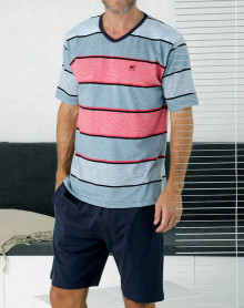 Pyjama short col V rayé Massana