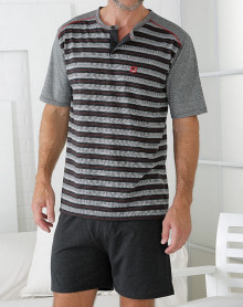 Pyjama short gris noir rouge rayé Massana